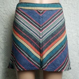 Free People Cotton Linen Chevron mini skirt size s